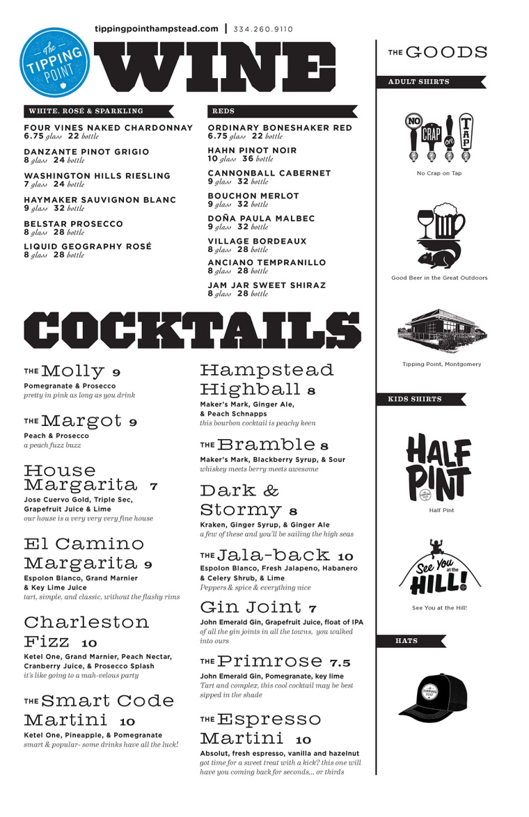 Tipping Point Drink Menu